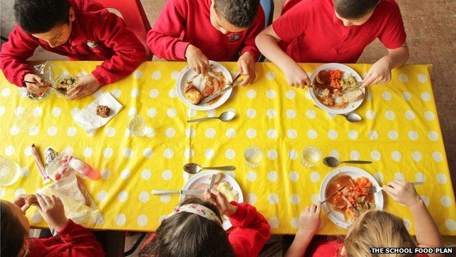 Primary school pupils eating a school dinner