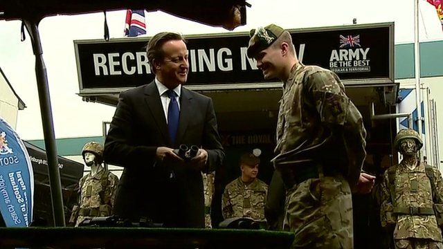 David Cameron meeting soldiers