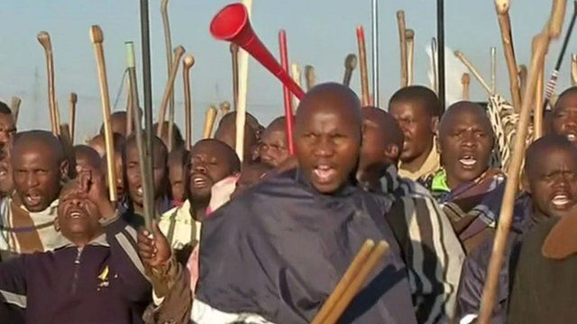 Platinum miners on strike in South Africa