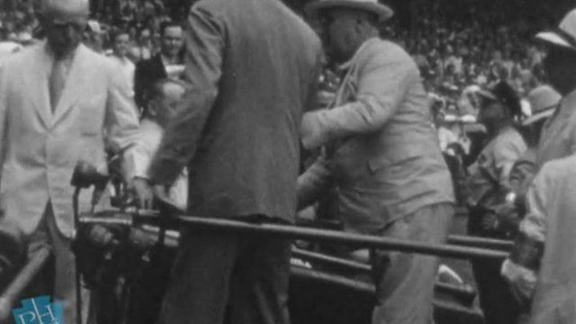 Screenshot of Pennsylvania State Archives video of FDR