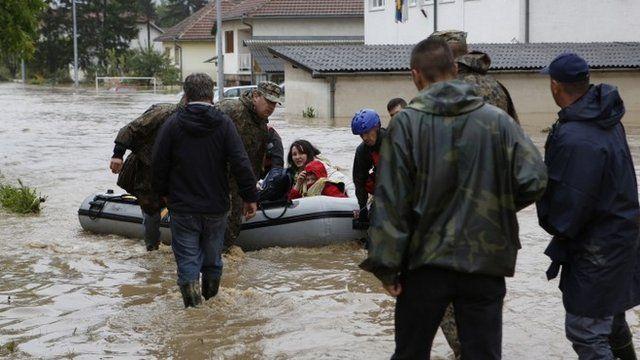 Flooded street in Bosnian town