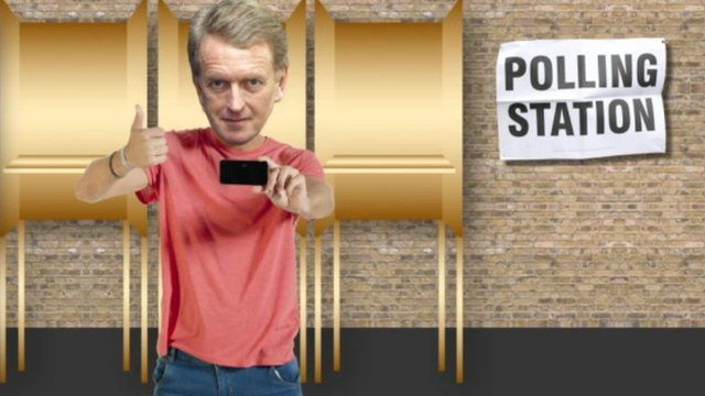 Graphic with Sir Christopher Meyer at polling station