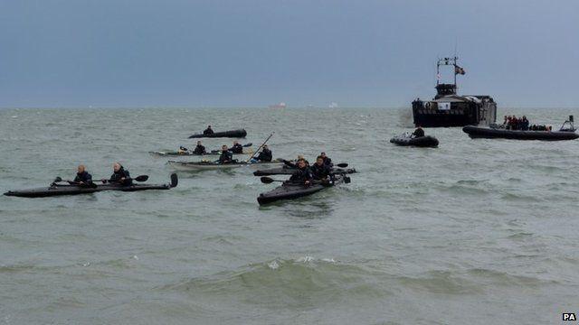 Royal Marines kayakers arrive at Southsea