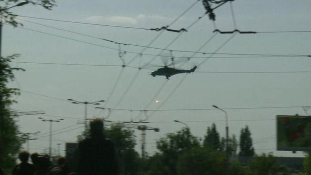 Helicopter at Donetsk airport