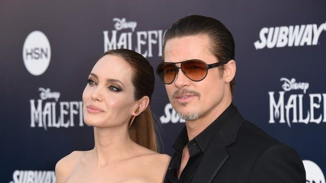 Angelina Jolie and Brad Pitt at the Maleficent premiere in Los Angeles