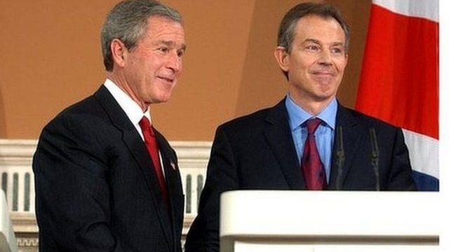 Tony Blair with President George W Bush in 2003