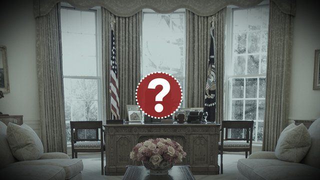 Photo illustration of question mark over desk in the Oval Office