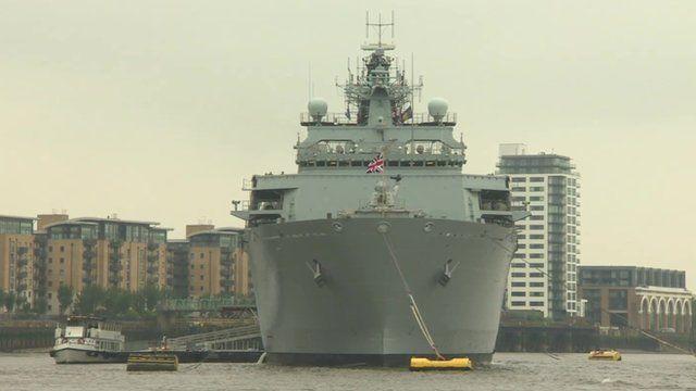 HMS Bulwark docks in Greenwich
