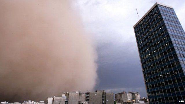 A sandstorm engulfs Tehran on 2 June 2014