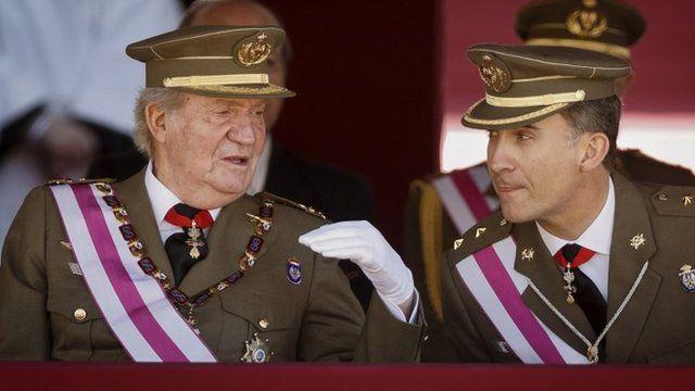 King Juan Carlos and Crown Prince Felipe on June 3