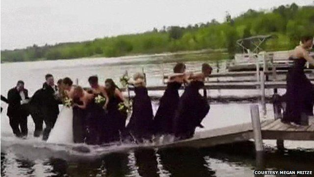 Jetty collapses during wedding photo shoot in Crosslake, Minnesota