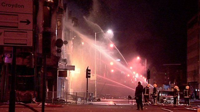 Fire during the riots in London in 2001
