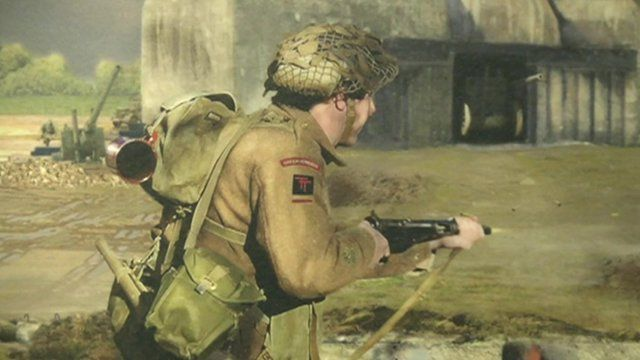 Solider taking part in D-Day operation - sketched image