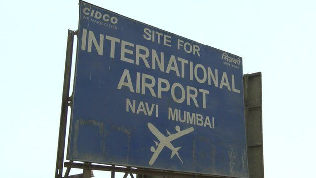 Mumbai airport site sign