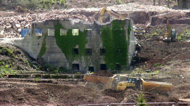A building on the Devon tungsten mine