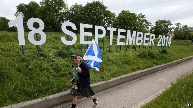 "A ""18 September 2014"" sign outside the Scottish Parliament"
