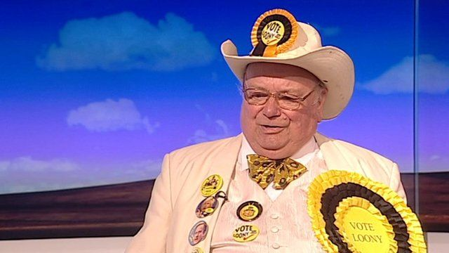 Loony party leader Alan 'Howling Laud' Hope