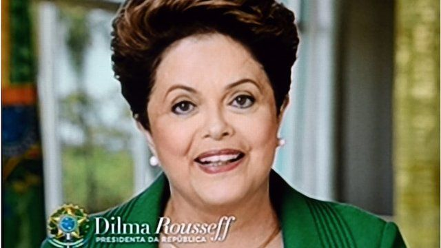 Screen grab from Dilma Rousseff's TV address