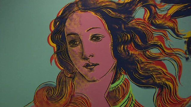 One of the paintings at the international Pop Art exhibition in Madrid