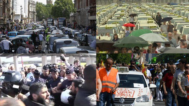Taxi strike image montage
