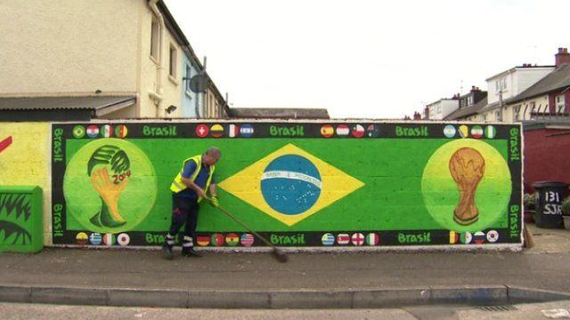 Brazil flag on wall