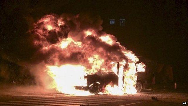 Burning vehicle
