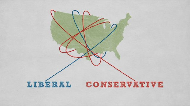 Graphic showing liberals and conservative lassos around USA map