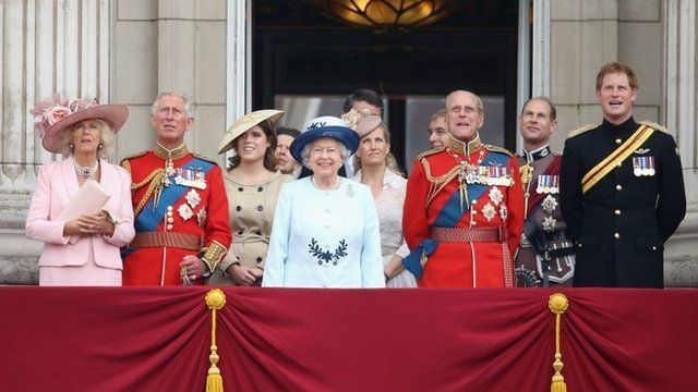Camilla, Duchess of Cornwall, Prince Charles, Prince of Wales, Princess Eugenie, Queen Elizabeth II, Sophie, Countess of Wessex, Prince Philip, Duke of Edinburgh, Prince Edward, Earl of Wessex and Prince Harry look on from the balcony during during Trooping the Colour