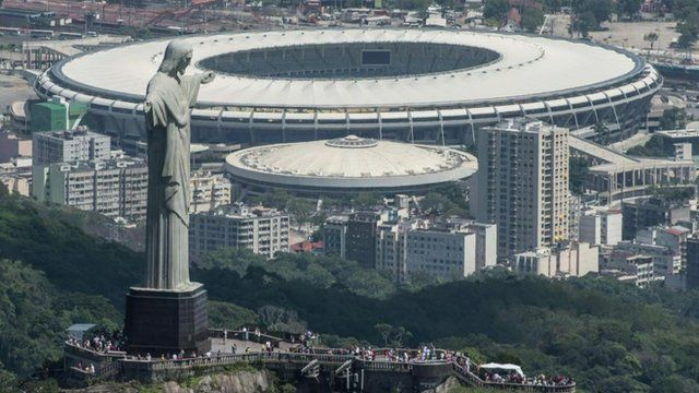 Maracana stadium with Christ the Redeemer statue in the foreground