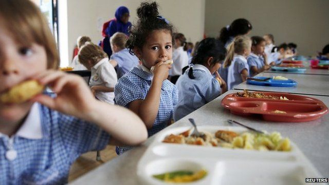 Children eating school food