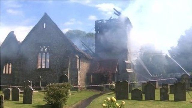 Fire at Ropley church