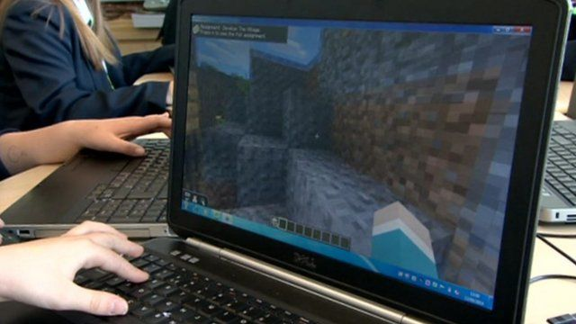 Pupil playing Minecraft