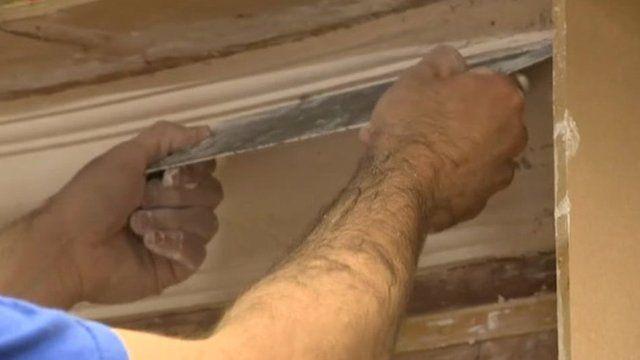 A plasterer at work