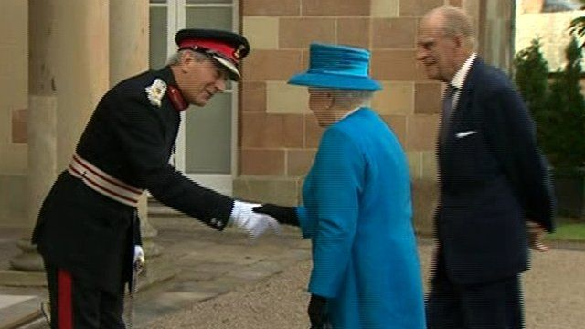 Queen and Prince Philip being greeted at Hillsborough Castle