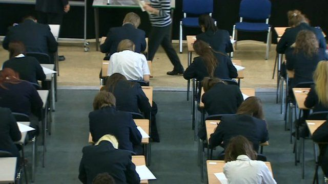 Pupils taking an exam