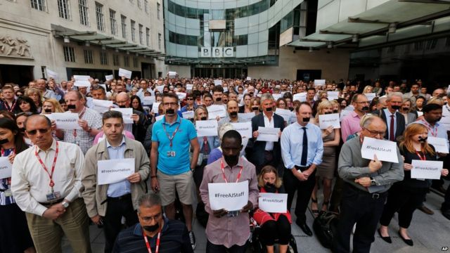 Protesting journalists at BBC New Broadcasting House in London