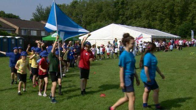 Children taking part in school games