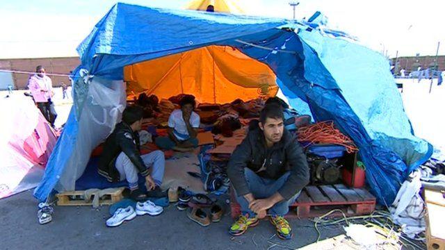 Hunger striking migrants