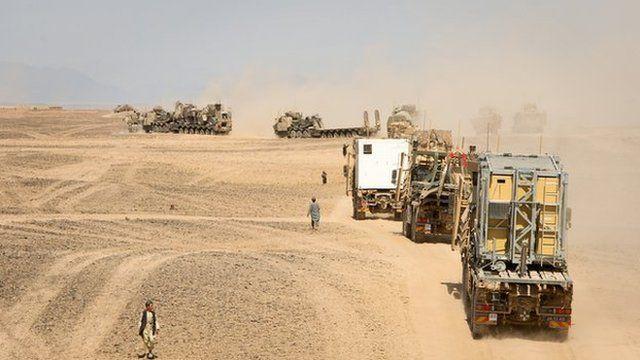 Vehicles leaving Camp Bastion