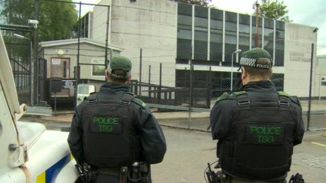 There was a strong police presence both outside and inside Lisburn courthouse for the hearing