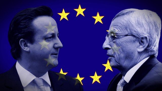 Graphic showing David Cameron and Jean-Claude Juncker superimposed over EU flag