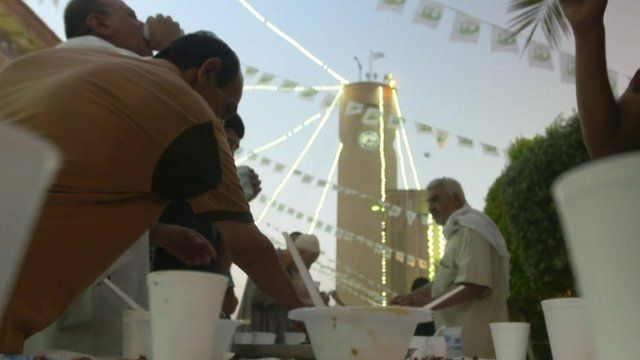 People breaking fast in Baghdad