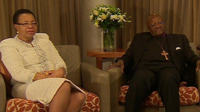 Graca Machel and Desmond Tutu