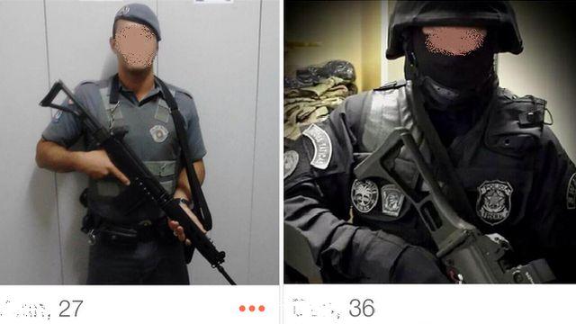 Screenshot of Brazilian police on Tinder