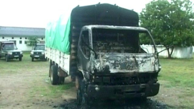 A burnt out truck