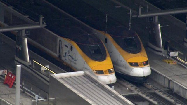 Two Eurostar trains at St Pancras station