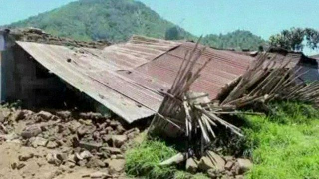 House in ruins after earthquake in Guatemala