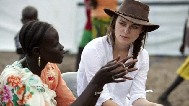 Keira Knightley and a woman from Sudan