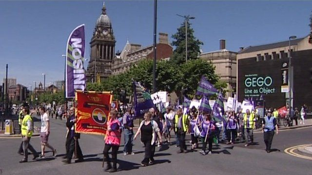 Union members on strike in Leeds