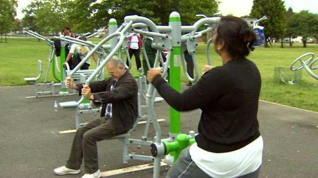 People taking exercise in a park